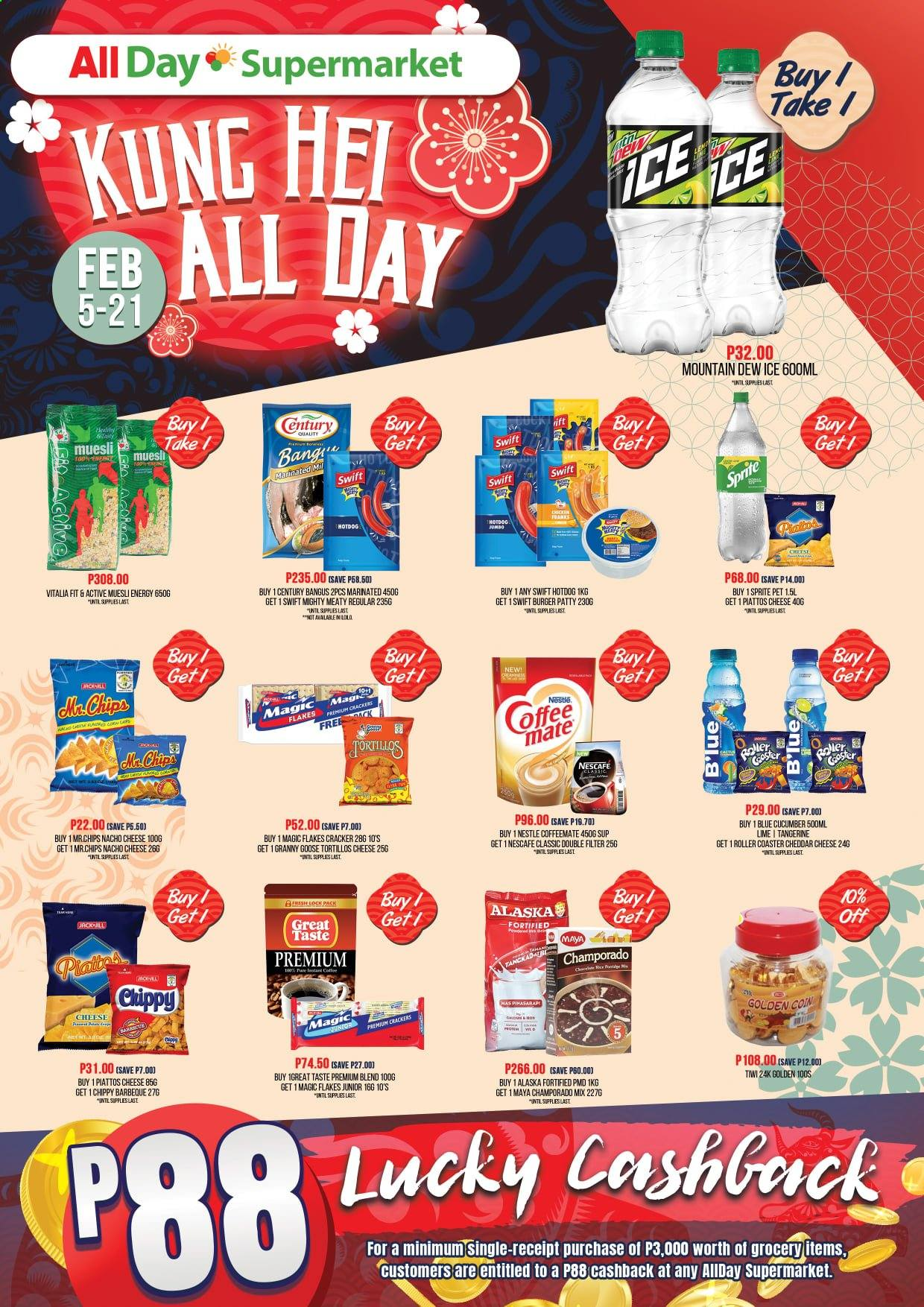 AllDay Supermarket offer  - 5.2.2021 - 21.2.2021 - Sales products - hot dog, hamburger, cheddar, cheese, Coffee-Mate, Nestlé, crackers, chips, cucumbers, muesli, rice, Mountain Dew, Sprite, Nescafé, goose. Page 1.
