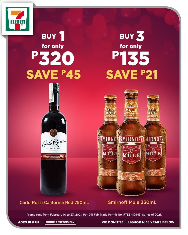 7 Eleven offer  - 10.2.2021 - 23.2.2021 - Sales products - liquor. Page 1.